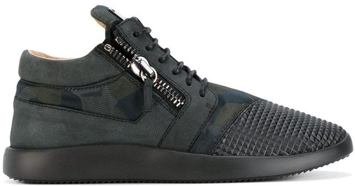 Zanotti Goujons Coureur Giuseppe Design Mi-top Sneakers - Noir SSGqDb1c