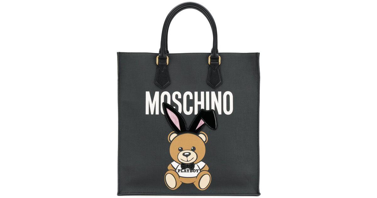 122a54c21c Moschino Playboy Bear Tote Bag in Black - Lyst
