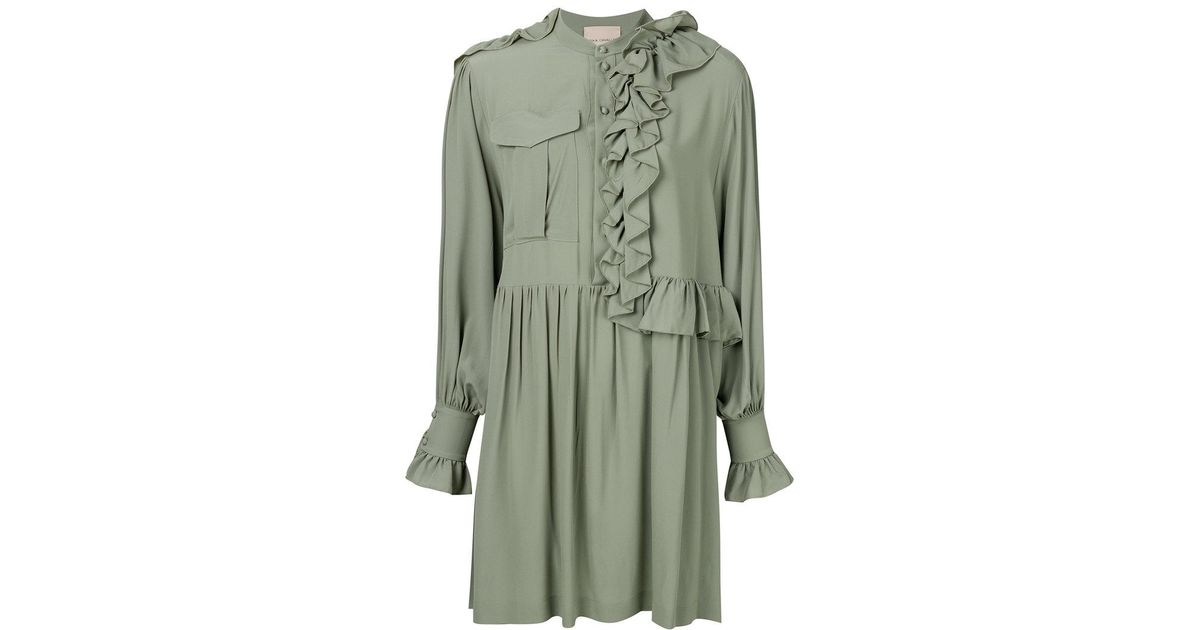 Release Dates Sale Online ruffled shirt dress - Green Erika Cavallini Semi Couture Manchester Pictures buSfV2cQey