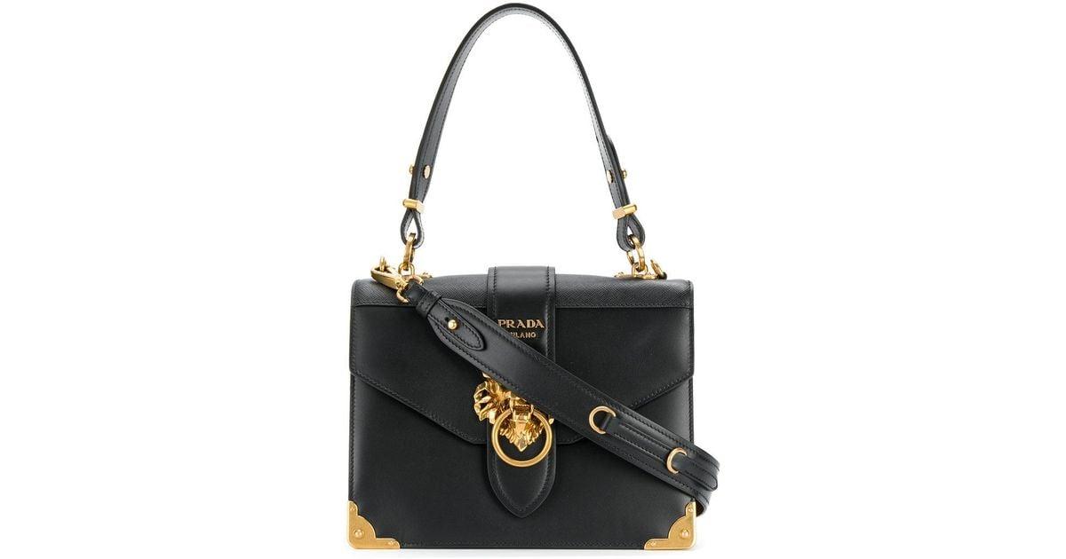 ... wholesale lyst prada cahier lion embellished shoulder bag in black  3fd3a 5a362 e14f7073a8