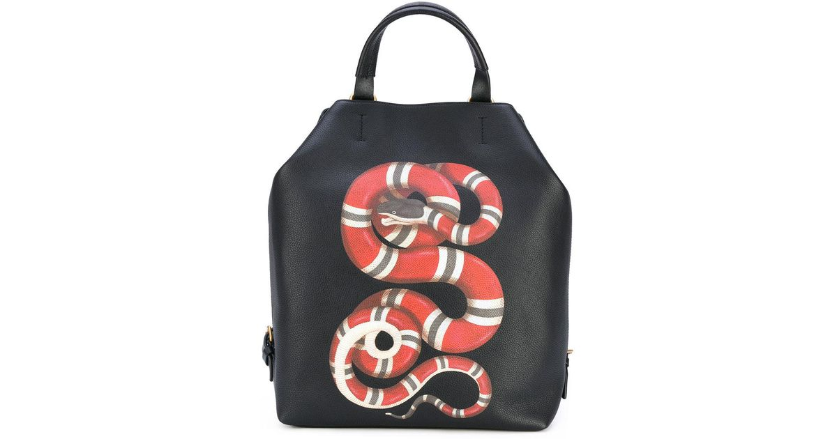 8cdbe56434b Lyst - Gucci Kingsnake Print Leather Backpack in Black for Men