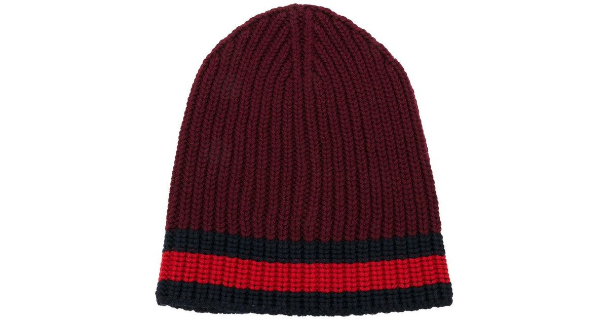 8fa14b9acd392 Lyst - Gucci Web Trim Knitted Beanie in Red
