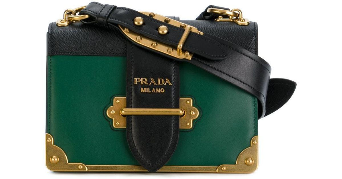 ... norway prada green and black cahier cross body leather bag in green  save 12.368972746331238 lyst 9f693 5a77d2f2d8ffc