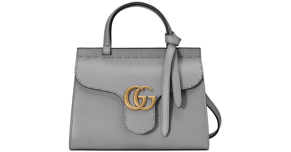 19be8cb3d Gucci Gg Marmont Leather Top Handle Mini Bag in Gray - Lyst