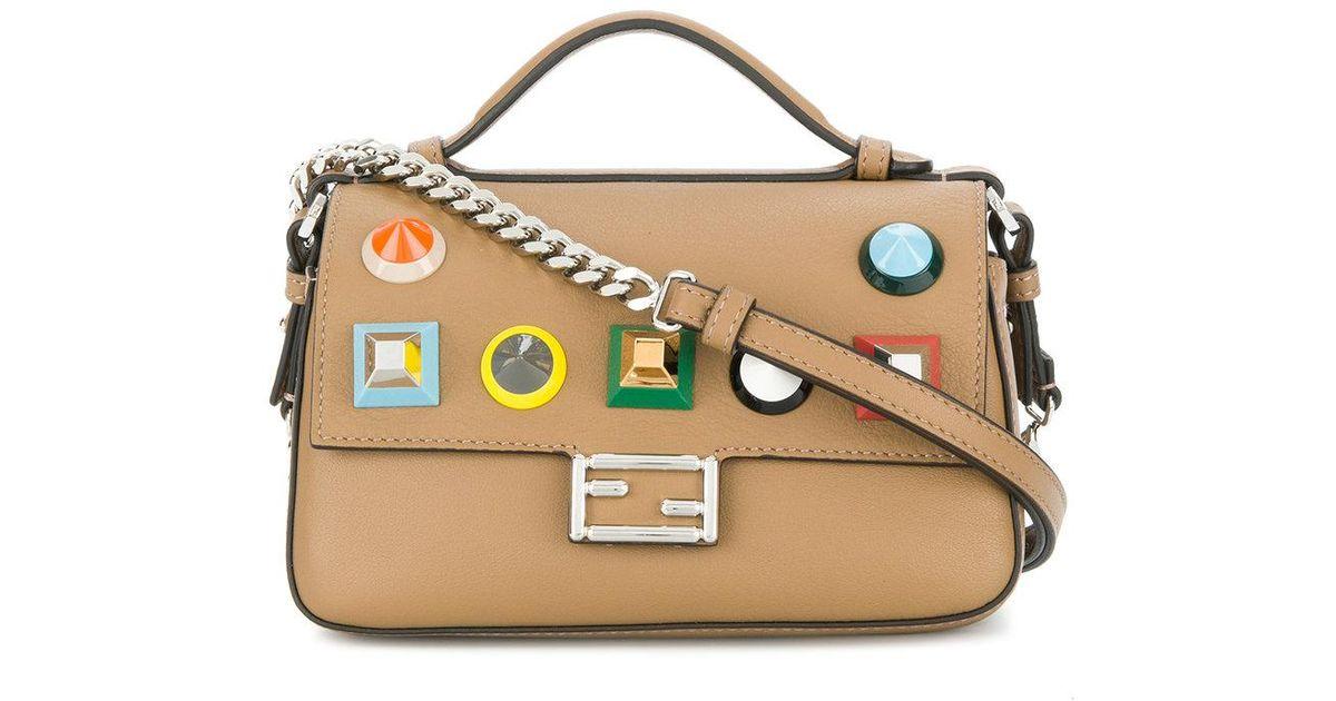 07b563569a Fendi Double Micro Baguette Crossbody Bag in Brown - Lyst