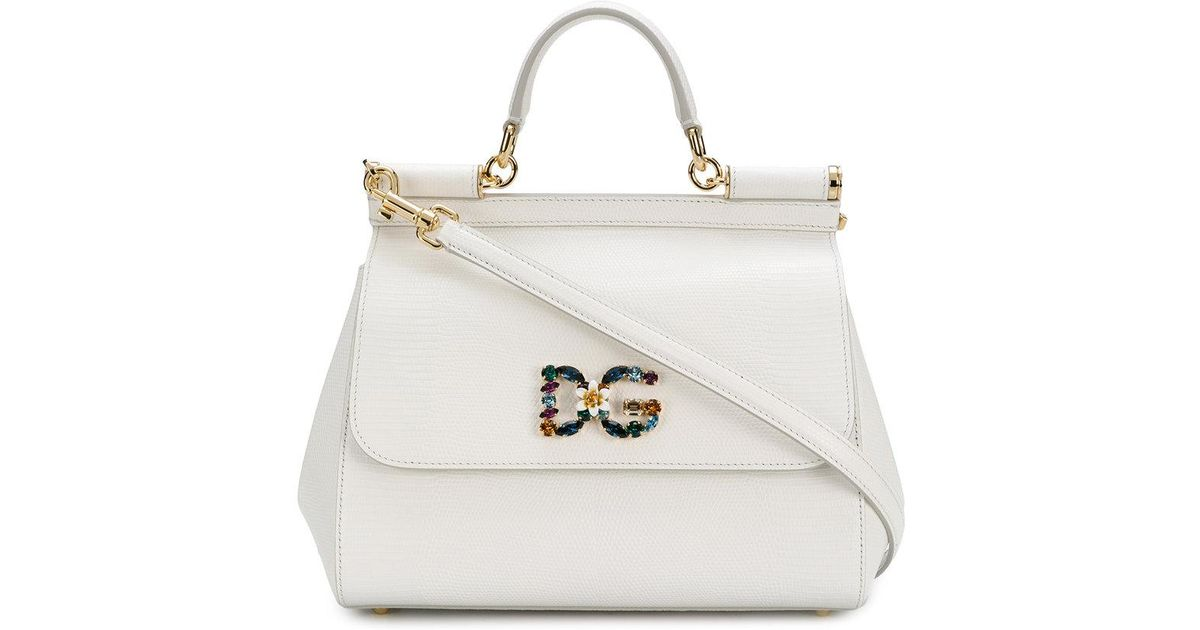 c9d3a950c2 Lyst - Dolce   Gabbana Small Sicily Shoulder Bag in White