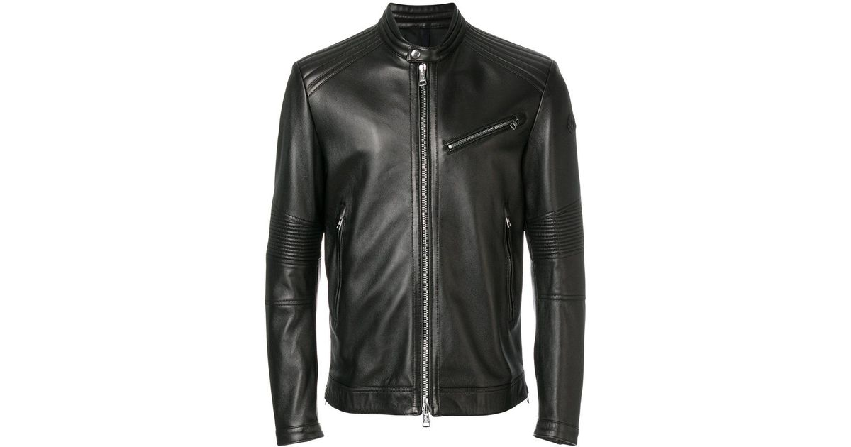 5aabbf5533b9 Lyst - Moncler Elorn Biker Jacket in Black for Men