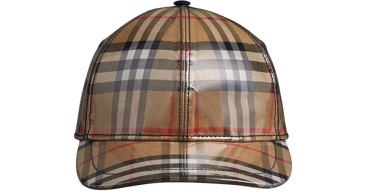 98ccaee1871 Burberry Laminated Vintage Check Baseball Cap for Men - Lyst