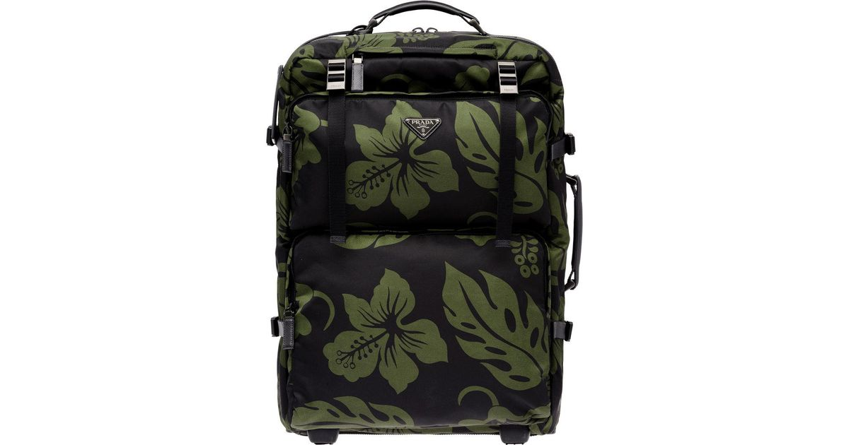 where can i buy prada tessuto stampato hibiscus backpack blue 78335 1adcf  04596  clearance prada hibiscus trolley bag in green for men lyst 716c7  d4a28 fc4f9fbc94457