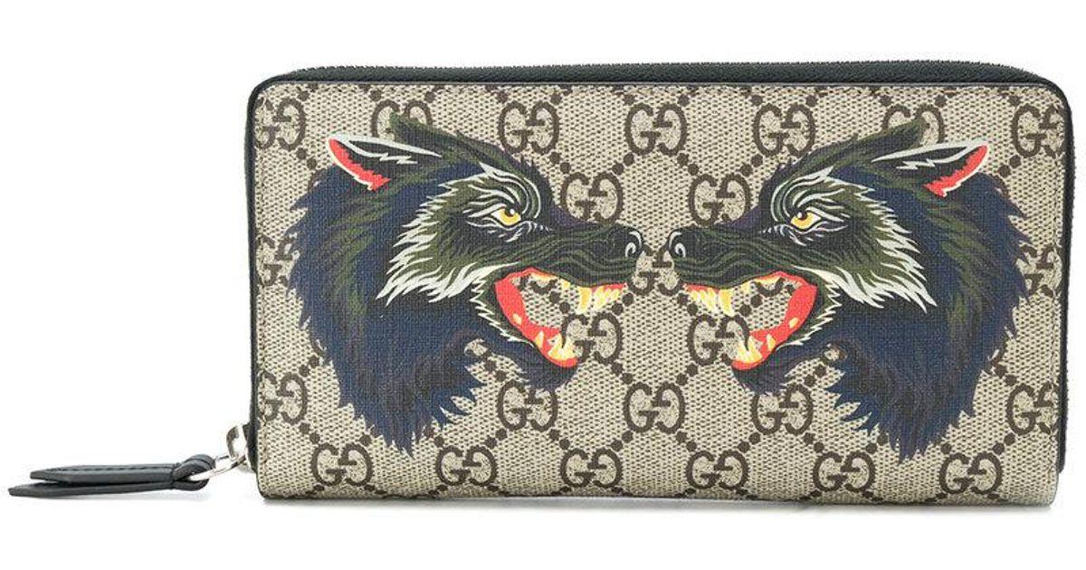 1790cadd0cf Gucci Gg Supreme Wolf Wallet - Lyst