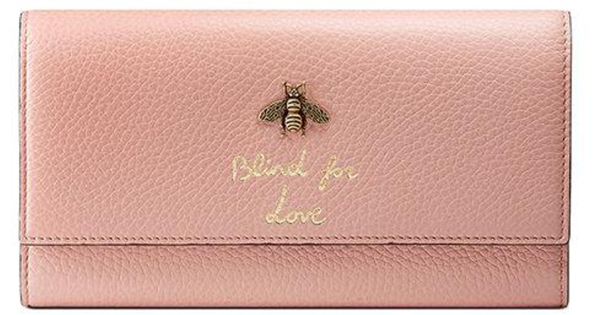 6d2f2e7061ba Lyst - Gucci Animalier Continental Wallet in Pink - Save 7%