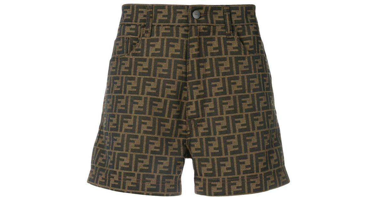 72a8a9859d1fb Fendi Logo Shorts in Yellow for Men - Lyst