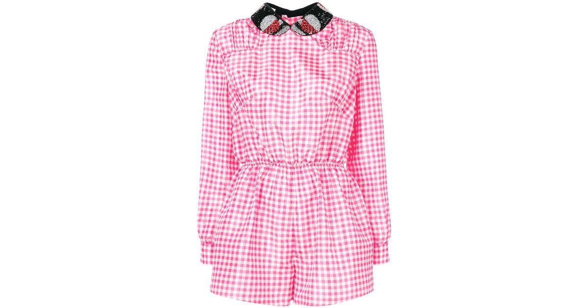 b17d3b47271 Lyst - Miu Miu Checked Playsuit in Pink