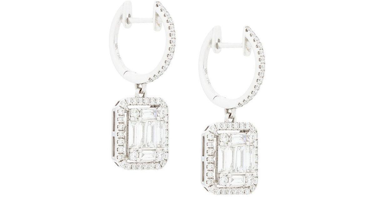 Gemco Designs 18kt white gold square cut diamond drop earrings - Metallic pMJ39vDo
