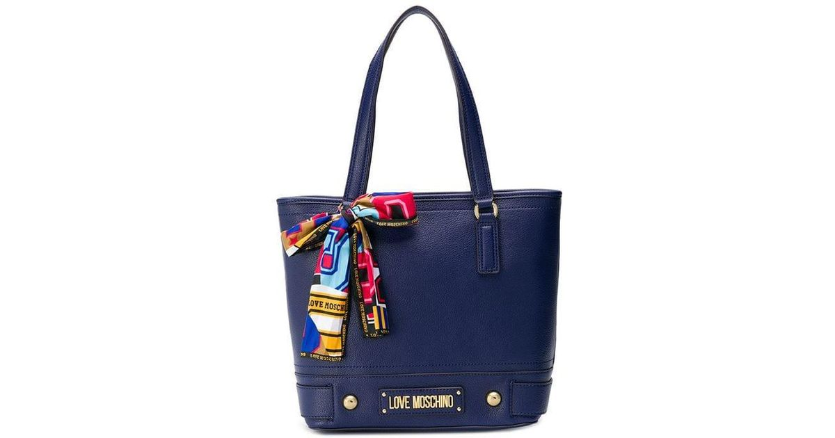 3253353c155 Lyst - Love Moschino Scarf Detail Shopper Tote in Blue