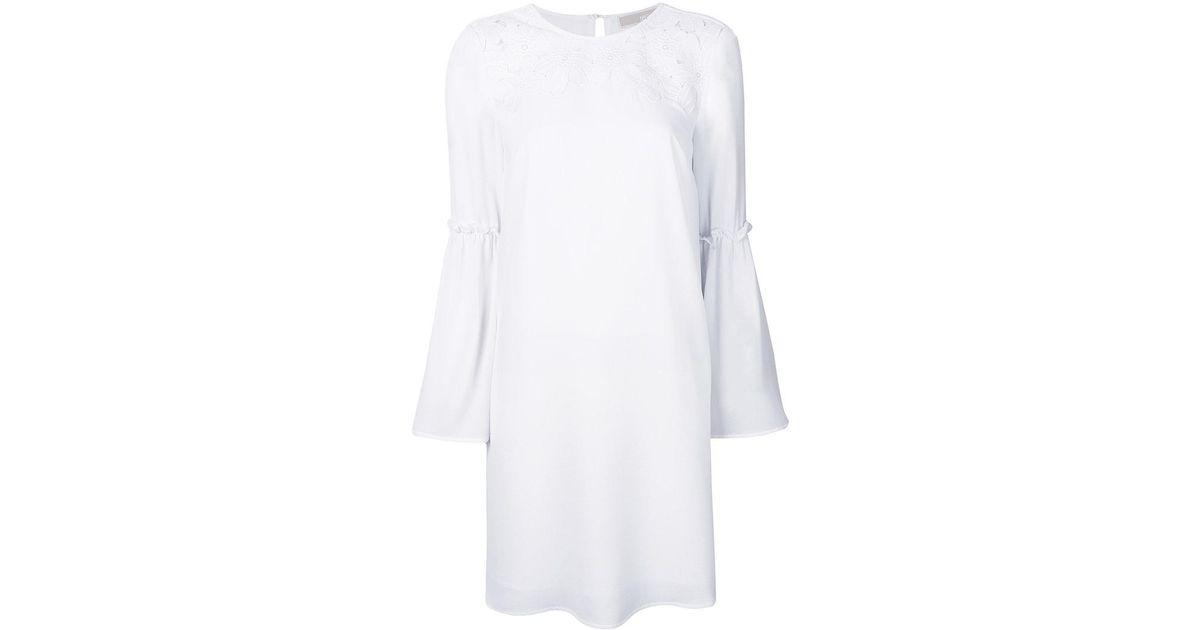 Lyst michael michael kors floral appliqué shift dress in white