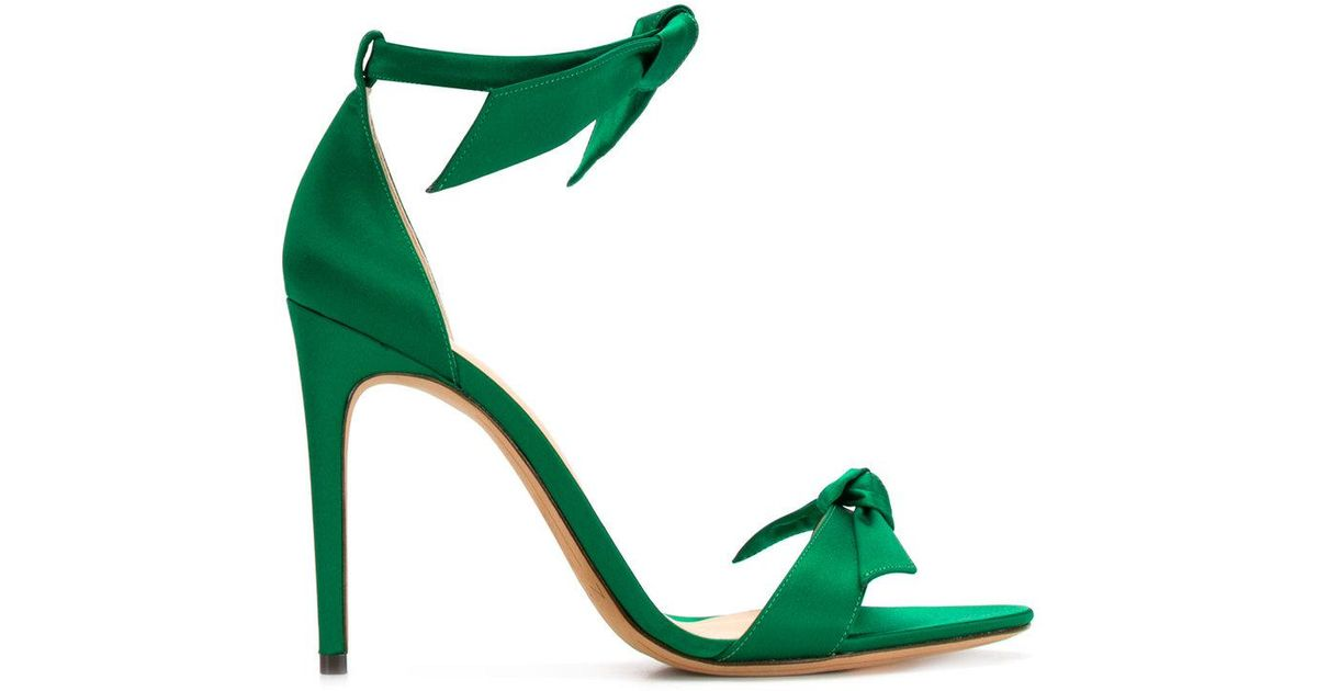 Lovely Clarita Bow-embellished Satin Sandals - Green Alexandre Birman