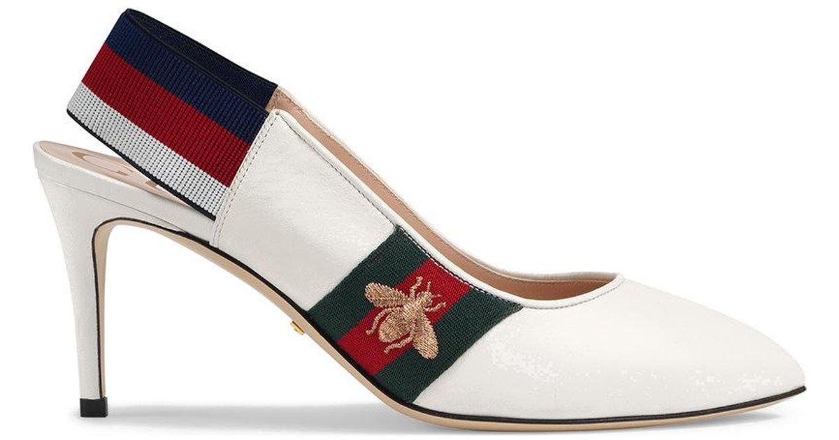 Leather Web mid-heel slingback pumps - White Gucci vqpVYh1ENj