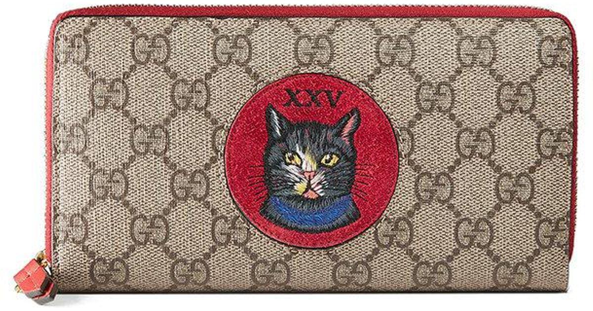 e1ada8998e4 Lyst - Gucci Gg Supreme Mystic Cat Wallet