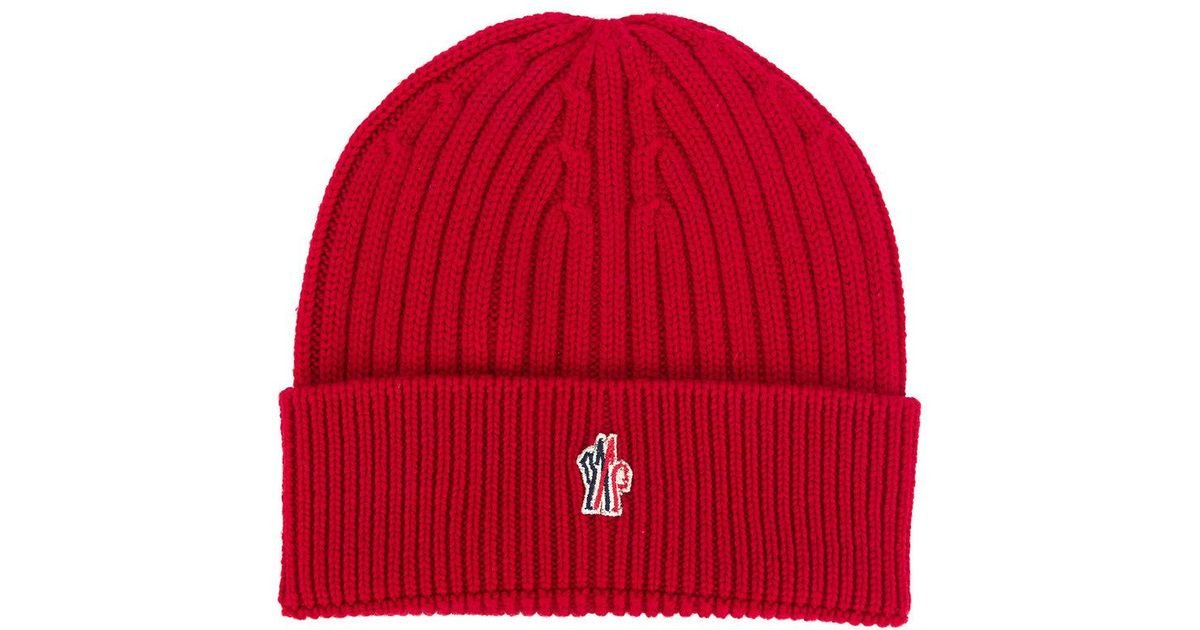 f224d54676a7f Lyst - Moncler Grenoble Ribbed Beanie in Red for Men