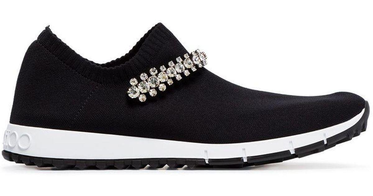 deddd6c64d27 Lyst - Jimmy Choo Black Verona Knit Crystal Embellished Sneakers in Black