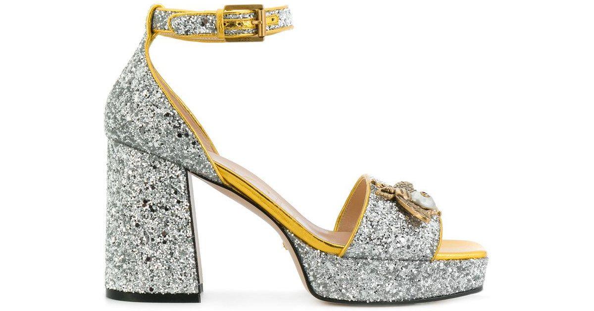 10ea7be9dea9 Lyst - Gucci Glitter Bee Sandals in Metallic