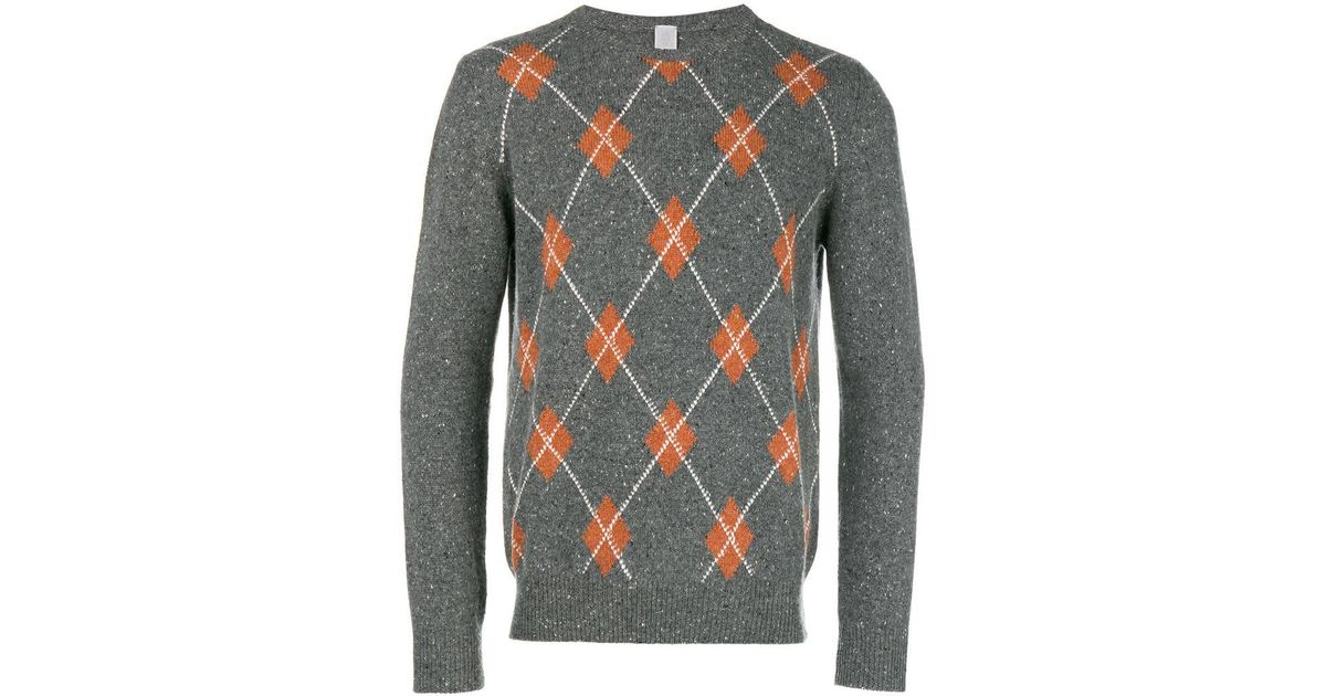 d8141495e Lyst - Eleventy Cashmere Argyle Pattern Sweater in Gray for Men