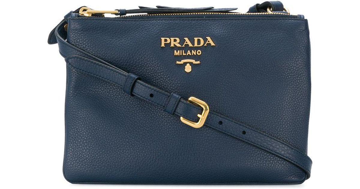 dd9c0fc79e98 Prada Vitello Daino Crossbody Bag in Blue - Lyst