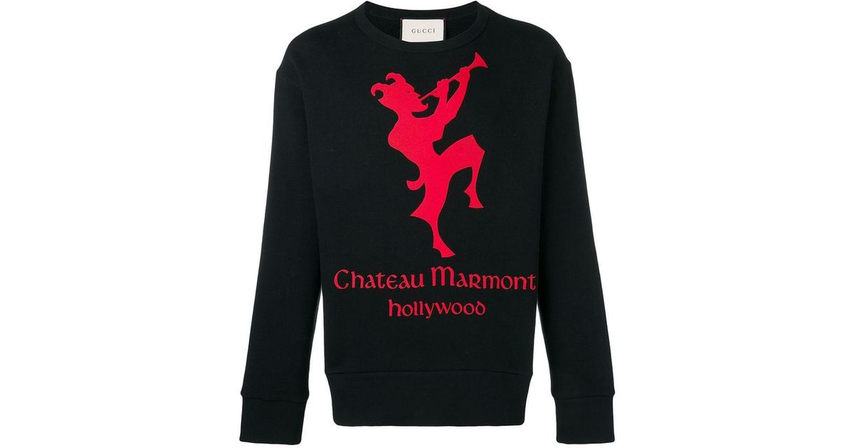 7fe0e5487403ba Gucci Cotton Sweatshirt With Chateau Marmont Print in Black for Men - Lyst