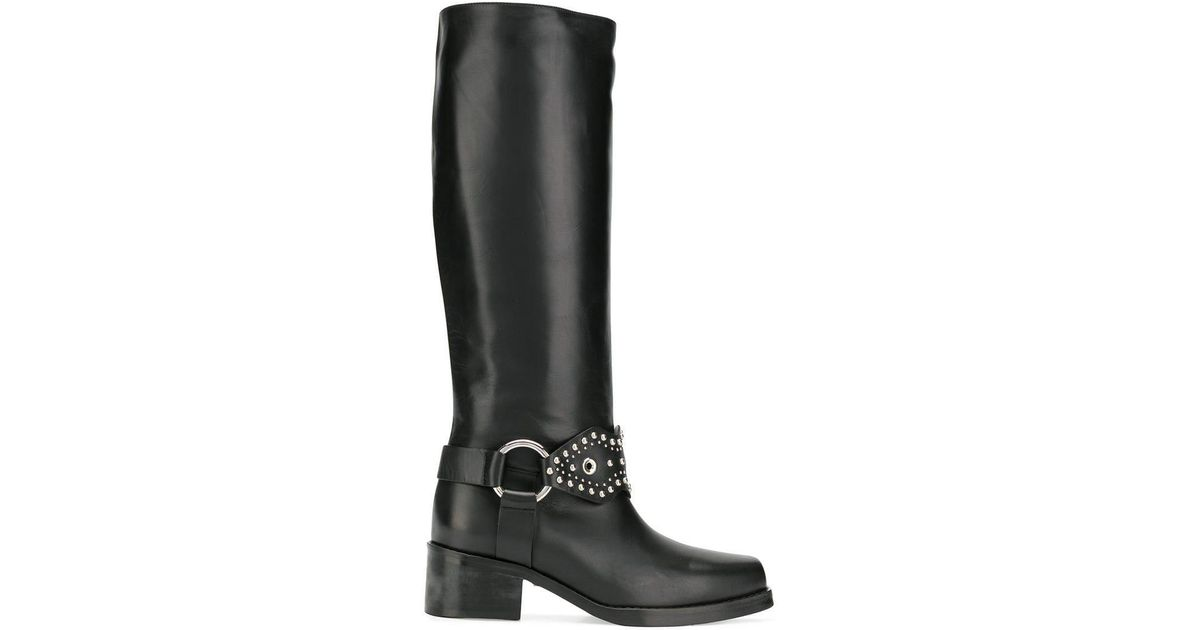 Red Valentino Studded Knee-length Boots in Black - Lyst 92c08e1c1ad33
