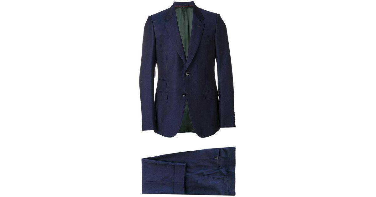 78d84167be Traje Monaco con motivo de micropuntos Gucci de hombre de color Azul - Lyst
