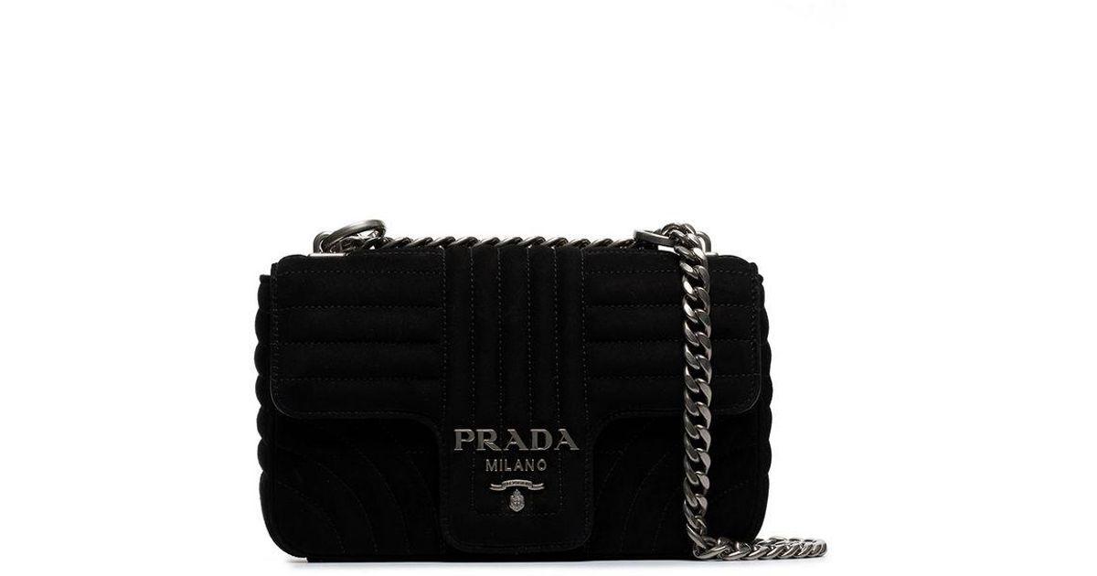 53cf14656c63 Lyst - Prada Black Diagramme Suede Leather Shoulder Bag in Black