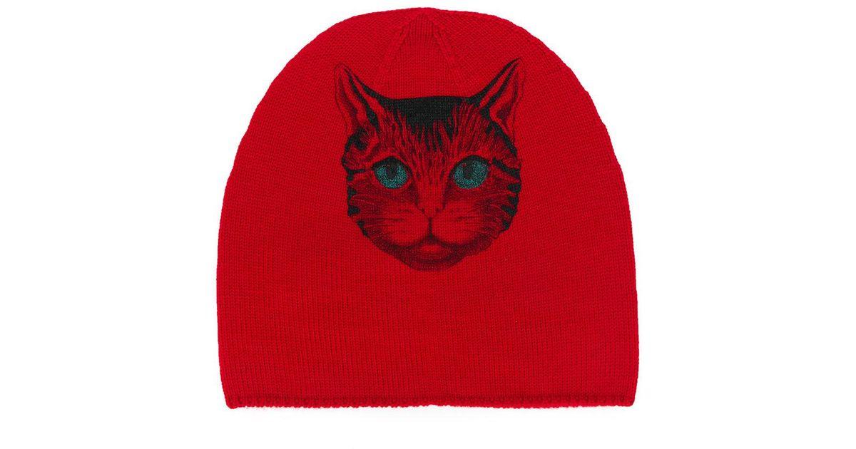 Lyst - Gucci Mystic Cat Beanie in Red 1a8b97d10ca