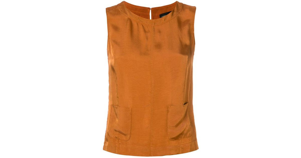 b94c7433a Lyst - Roberto Collina Patch Pocket Blouse in Orange