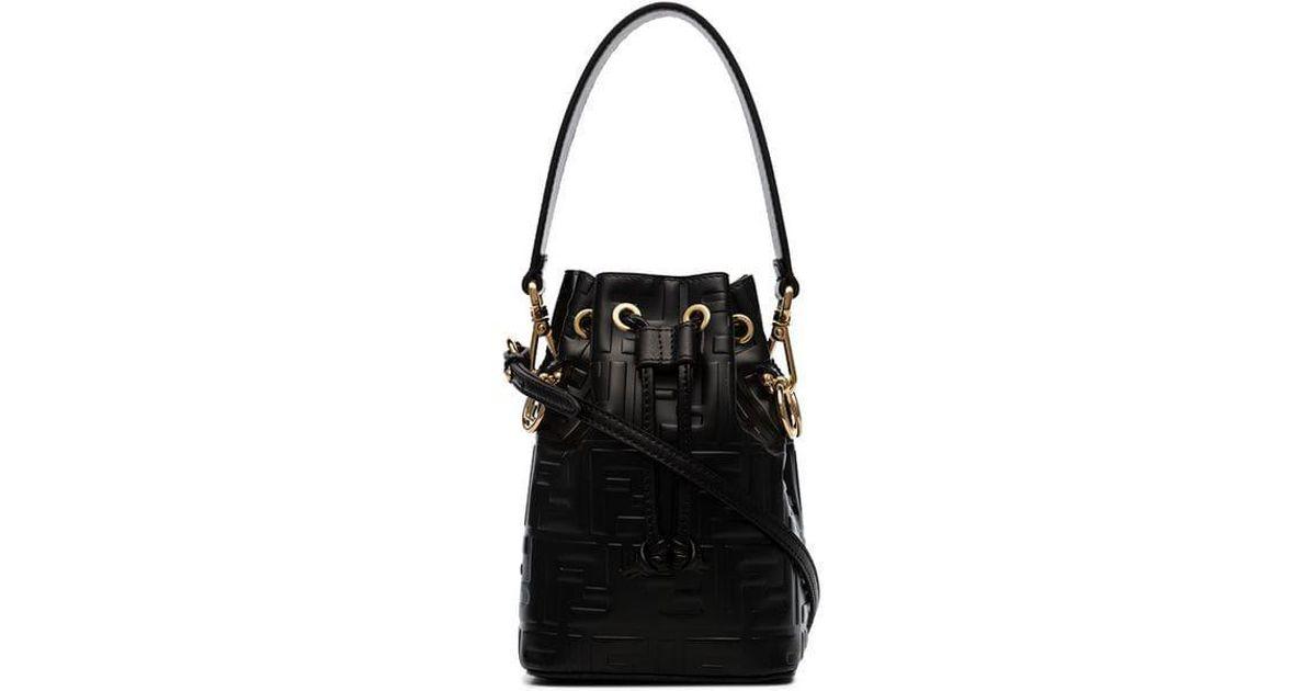2ca71a8e6353 Lyst - Fendi Black Mon Tresor Mini Leather Bucket Bag in Black