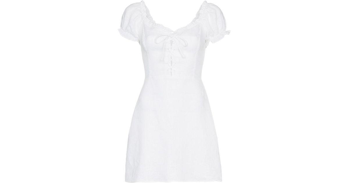 3fe60a491cf Lyst - Reformation Klara Linen Dress in White