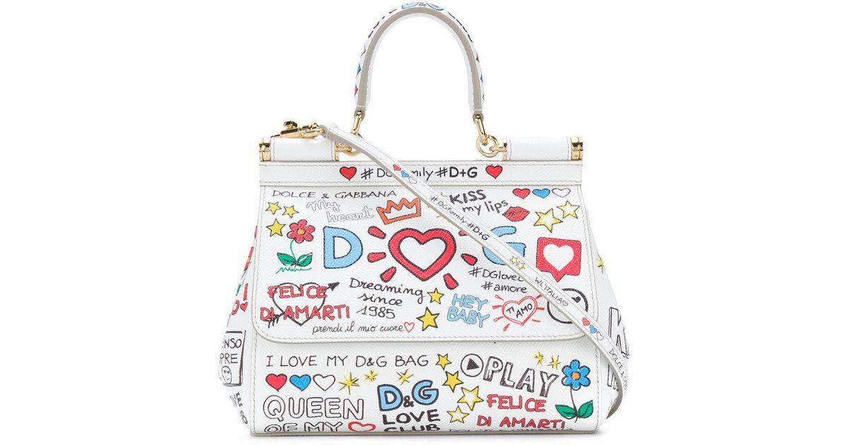 Lyst - Dolce   Gabbana Small Sicily Mural Print Shoulder Bag in White cf84f6d94e4f8