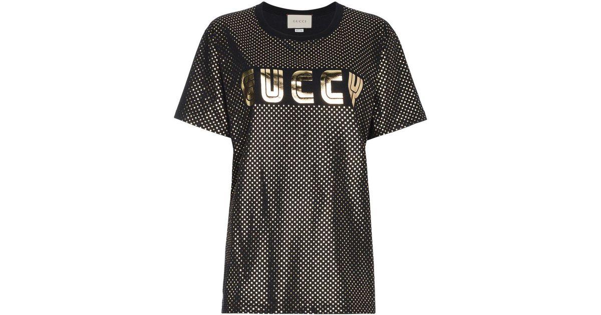 f58a8807e4cc Gucci Gold Metallic Logo T-shirt in Black - Lyst