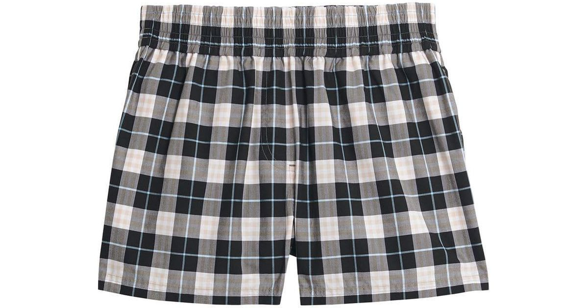 Lyst - Burberry Check Cotton High-waisted Shorts in Black 7c503576d4