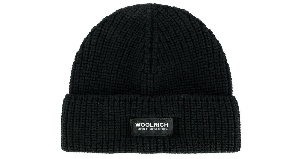Woolrich Classic Knitted Beanie Hat in Black for Men - Lyst 761b15e304b