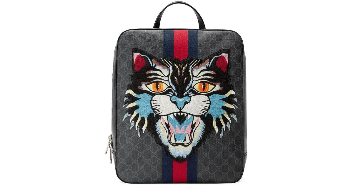 380fa313141 Lyst - Gucci GG Supreme Backpack With Angry Cat in Black for Men