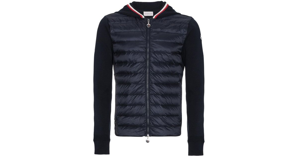 81d362354eb8 Lyst - Moncler Quilted Shell Down Jacket With Knitted Sleeves in Blue for  Men - Save 33%