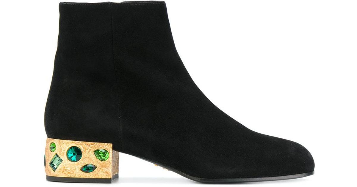 Prada embellished heel boots sale hot sale efZmB8s2