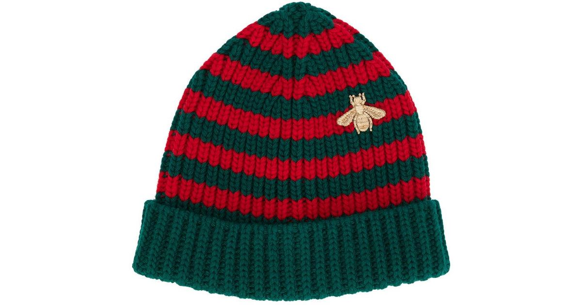 Lyst - Gucci Striped Beanie With Embroidery in Green for Men 5bc33cf0f48