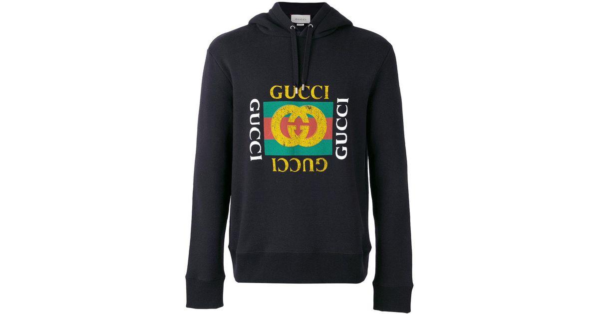 7de49903c Gucci - Logo Print Hoodie - Men - Cotton - L in Black for Men - Lyst