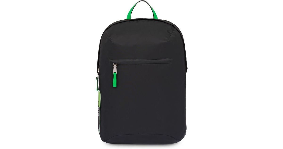 06688ab9a41e Prada Black And Green Large Logo Backpack in Black for Men - Save 6% - Lyst