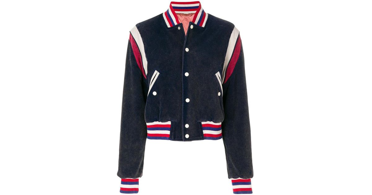5255f425bea Lyst - Gucci Tiger Patch Varsity Jacket in Blue