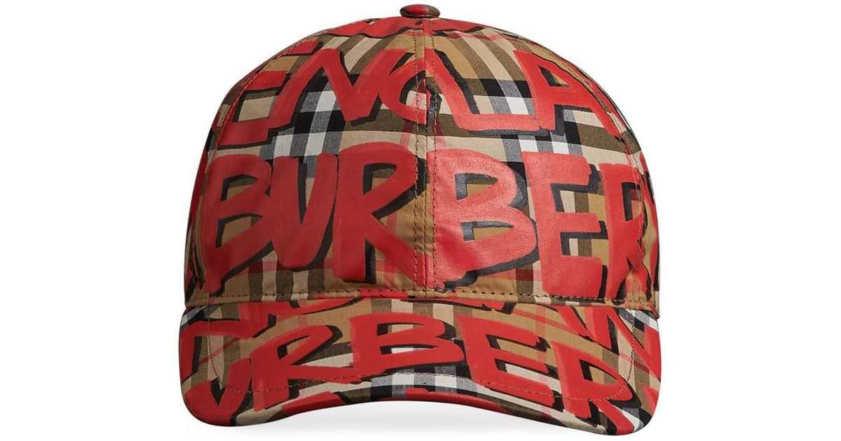 ab0926c9afe Burberry Graffiti Vintage Check Cap in Red - Lyst