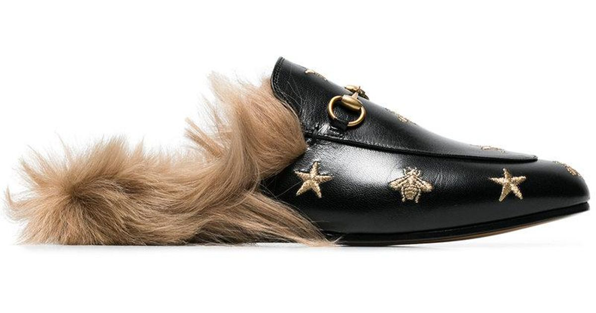 0e305c8cb44 Gucci Princetown Bee And Star Embroidered Fur Lined Loafers in Black - Save  10% - Lyst