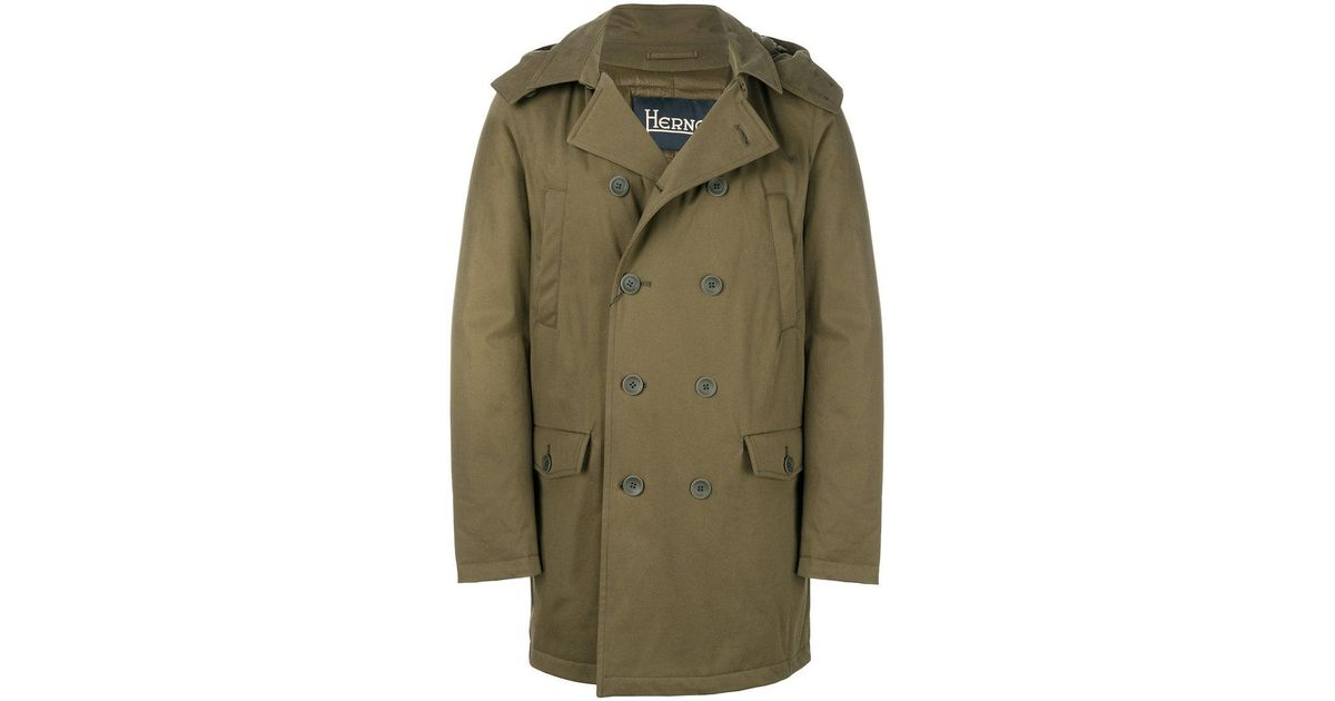 new selection the sale of shoes diversified latest designs Herno - Green Hooded Peacoat for Men - Lyst